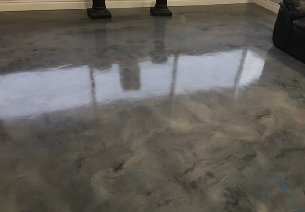 Toronto basement concrete floor and walls repair and decorative finishes